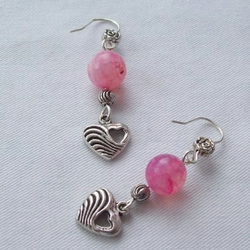 Heart and bead drop Earrings