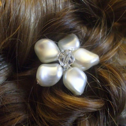 Flower Swarovski Glass pearl & Crystal Bridal, Wedding Hair Pins