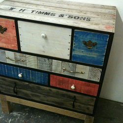 Reclaimed timber chest of drawers