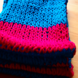 Summer Skinny Scarf in Deep Blue and Hot Pink