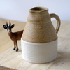 Tall pottery pouring jug glazed in natural brown - wheel thrown stoneware