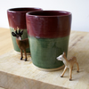 Red and green handmade pottery tumblers - Set of two glazed in golden brown