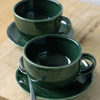 A set of two forest green cappuccino cups - hand thrown stoneware pottery
