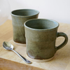 For ClarkJewellery - Set of two large blue pottery mugs
