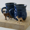 Two stoneware pottery coffee mugs - glazed in midnight blue with tiny mouse