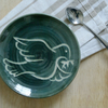 Small decorative peace Dove plate - in Green and Simply Clay
