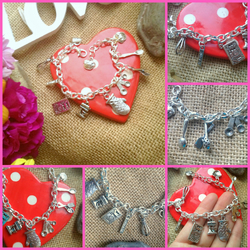 Baking  Cooking Charm Bracelet, cupcake, Mixer, Spoon, Measuring Spoon, Spoon