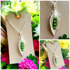 "Offer 4 Green Peas-in-a-Pod Family Handmade Pendant on 18"" chain"