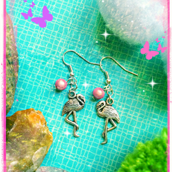 Flamingo and Pink illusion bead Earrings