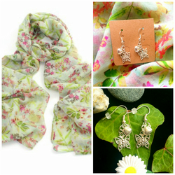 Discontinued - Beautiful Butterfly scarf wrap with Butterfly Earrings