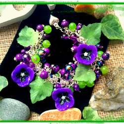 Offer. Purple and Green Flower Garden Themed bracelet :-)