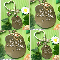 Sale Enjoy the little things in life Keyring Bagcharm - Silver colour