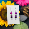 Purple - burgundy and silver earrings