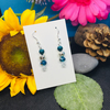 Teal, silver and clear cut glass earrings