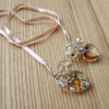 Peach Sparkle Heart Ribbon Thong Bookmark