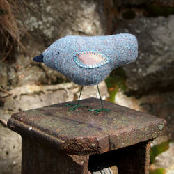 Fabric Bird Sculpture - Harris Tweed and Vintage Cotton Bird - Made to Order