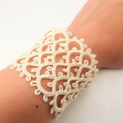 Bridal ivory lace cuff bracelet wedding jewellery