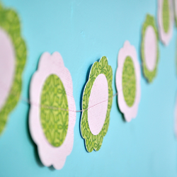 Pink and Green Paper Flower Bunting