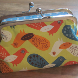 Funky BIRD fabric purse