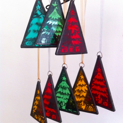 Painted Stained Glass Christmas Tree