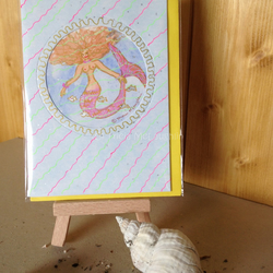 Hand-painted mermaid card