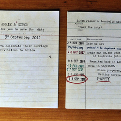 Library card 'save the date' cards - personalised to order