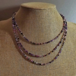 Three Strand Beaded Seed Necklace in shades of purple.  SIlver Plate.  18""