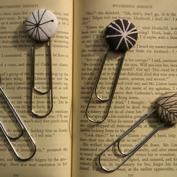 Linen Button Paperclip Style Bookmark