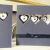 Dark Blue Three Hearts Birthday Card with matching Gift Tag