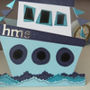 Personalised Boys Funky Boat Birthday card