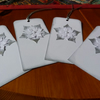 Pack of 4 White Poinsettia Gift Tags