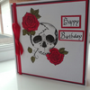 Goth skull and roses birthday card