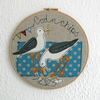 Cheeky seagulls embroidery hoop