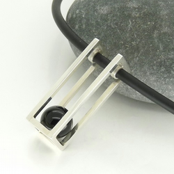 'Rolling' Pendant in Sterling Silver with Black Onyx