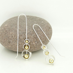 Sterling Silver 'Spinning Circles' Earrings with 18ct Gold beads