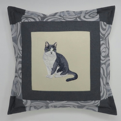 Embroidered Cushion with Black and White Cat