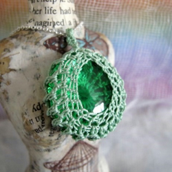 Green Crochet and Glass Pendant