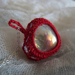 Scarlet Crochet and Iridescent Glass Heart Pendant, Necklace, Valentine