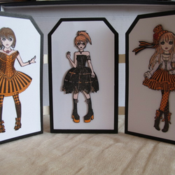 Gothic Girls, Halloween, Steampunk , 3D Decoupage, Triptych, Home Decoration