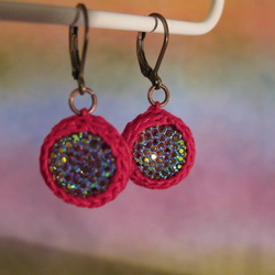 Crocheted Sparkling Christmas Red Earrings