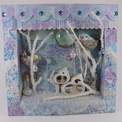 Frosty Winter Bird Scene with Fairies 3D Box Frame