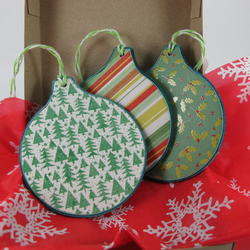 Box of Three Luxury Tree Decorations. Shades of Green. Free p and p
