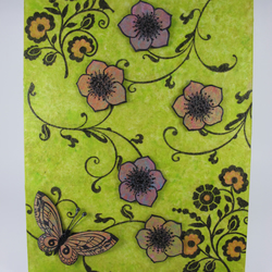 Mixed Media Canvas Board Wallhanging. Flowers with Butterfly.
