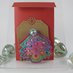 Pink, Green and Copper Decorated Christmas Tree Brooch. Gift Wrapped.