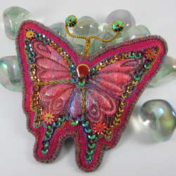 Fabulous Felt and Iridescent Fibre Butterfly Brooch. Rainbow Colours