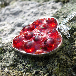 Bubbly Red Resin Heart Necklace, Pendant, Valentine's Day Gift