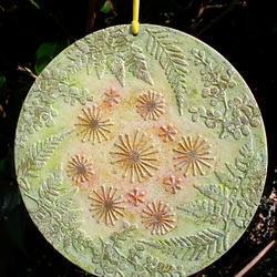 Golden Dandelion Clocks with Foliage, Round Canvas Board