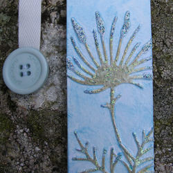 Fantasy Flower Bookmark, Shades of Blue