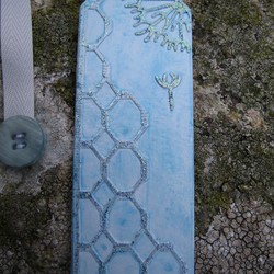 Dandelion Clock Bookmark, Shades of Blue and Silver