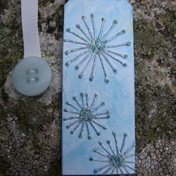 Abstract Dandelion Clock Bookmark, Blue, Green, Silver